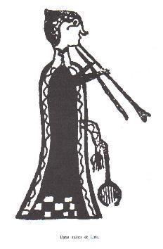 Dama tocando la flauta doble. Se puede adivinar los detalles de la vestimenta y tocado en el pelo. Las mujeres íberas tenían gusto por adornos barrocos recargados, sin importar demasiado el buen gusto.