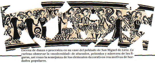 Danza o procesión en un vaso de <I>San Miguel de Llíria</I>.Hombres y mujeres cogidos de la mano danzando al son de la flauta doble y la flauta simple