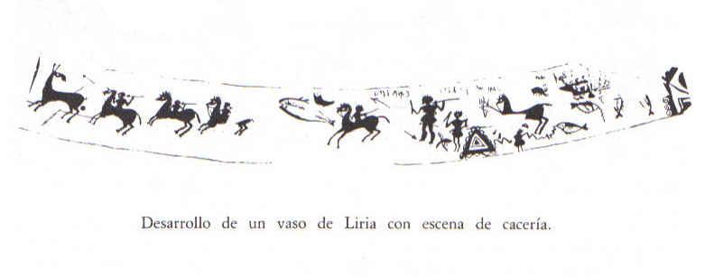 Representación de un vaso de Llíria. Jinetes con faláricas cazando un ciervo. Infantes en actitud de caza(entre ellos se distingue un ave). Pescador al lado de su montura recogiendo la pesca que parece haber picado un anzuelo.