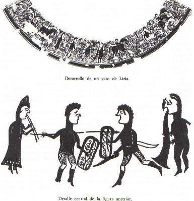 Representación de un vaso de Llíria de un combate quizá ritual entre dos guerreros al son de la doble flauta y lo que parece una tuba. Podría tratarse de un torneo o desafío personal, que sabemos que existían entre los celtíberos.