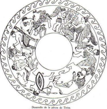 Se representa una figura central entronizada(quizá una Diosa).