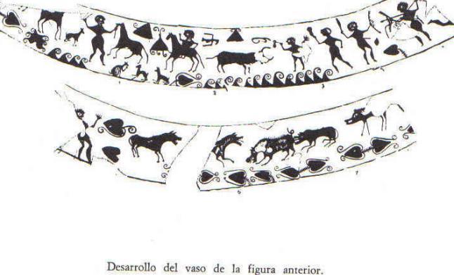 Jinete desmontado que pudiera estar domando el caballo o simplemente cogiéndo las riendas mientras combate a pie. Lucha entre un guerrero(que parece lanzarle un lazo) y un toro. Lucha entre dos guerreros, ambos con escudo redondo, uno llevando falcata y otro lanza(¿falárica?). Lobos o perros atacando a un jabalí.