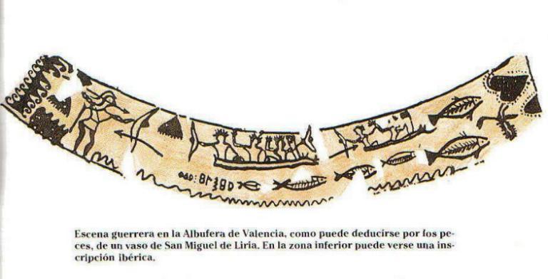 Escena guerrera en un vaso de Llíria con guerreros en barcas o canoas, seguramente en la Albufera de Valencia. Los guerreros portan escudo redondo, cascos con cresta y lanzas, quizá faláricas