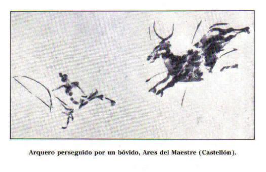 Arte Levantino: cazador huyendo de un toro