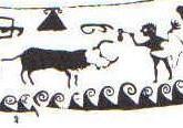 Guerrero enfrentándose a un toro, vaso de Llíria